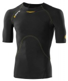 SKINS A400 Mens Short Sleeve Top, Black/Yellow