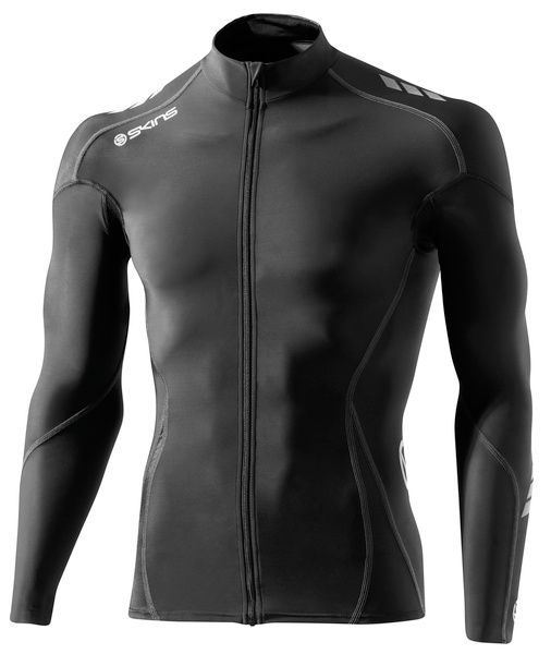 SKINS C400 Mens Compression Long Sleeve Jersey - Black/Grey
