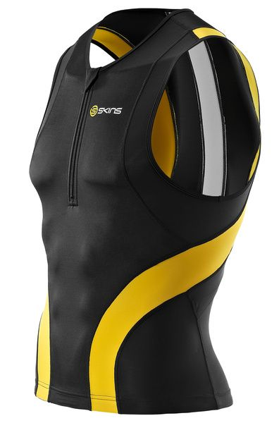 SKINS TRI400 Mens Sleeveless Top Black/Yellow