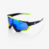 100% SpeedTrap Polished Black Neon Yellow/Electric Blue Mirror