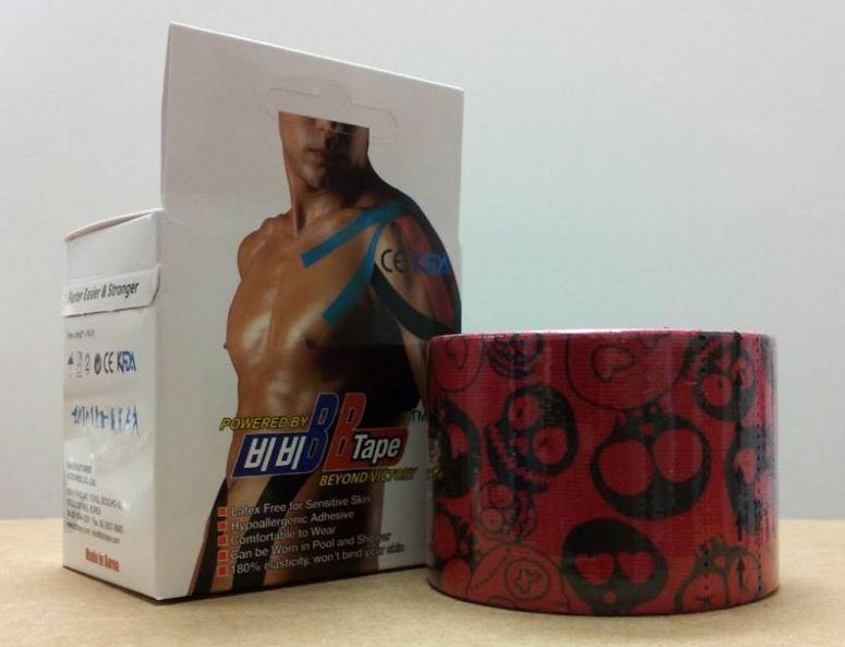 BB Tape s designem červené lebky - 5cmx5m