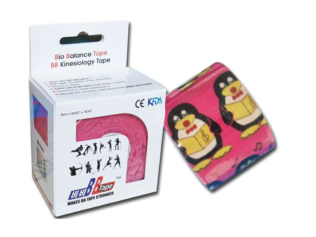 Kineziologický tejp BB Tape s designem tučňáka - 5cmx5m