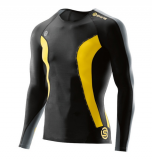 SKINS DNAmic Mens Long Sleeve Top - Black/Citron