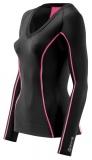 SKINS A200 Womens Long Sleeve Top - Black/Pink