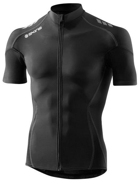SKINS C400 Mens Compression Short Sleeve Jersey - Black/Grey