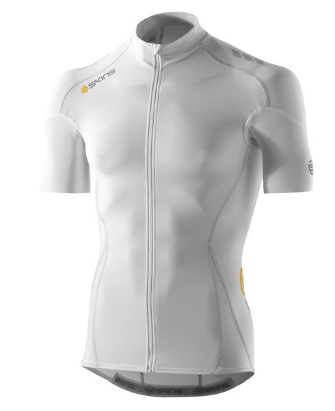 SKINS C400 Mens Compression Short Sleeve Jersey - White/Grey