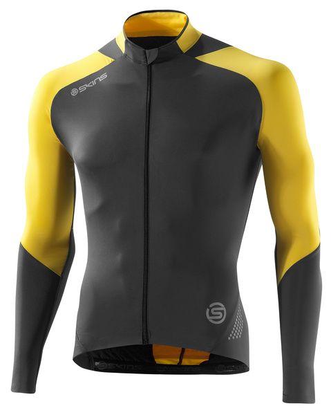 SKINS C400 Mens Long Sleeve Jersey - Yellow/Grey