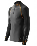 SKINS S400 Mens Thermal Long Sleeve Top w Neck and Zip - Black