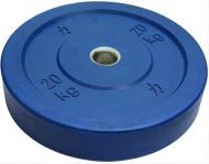 Bumper plate kotouč, Riot, 20 kg, Modrý