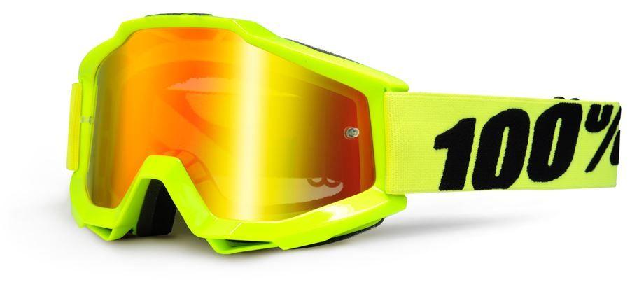 MX brýle 100% Accuri - Fluo Yellow/Mirror Red/Clear (skla červená zrcadlová + čirá)