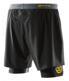 SKINS DNAmic Mens Superpose Half Tights - Black/Citron (pánské kompresní dvojité kraťasy SKINS)