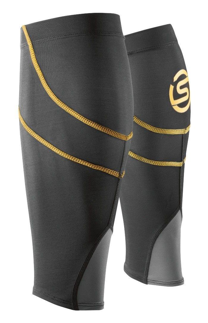 Kompresní návleky SKINS Essentials Unisex Calf tights MX, Black/Yellow (pánské aktivní kompresní návleky na lýtka)