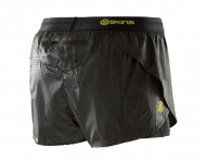 SKINS DNAmic Womens Superpose Shorts - Black/Limoncello (dámské kompresní dvojité kraťasy SKINS)