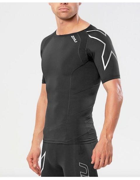 2XU Elite kompresní tričko pánské, Black/Silver, MA2307a