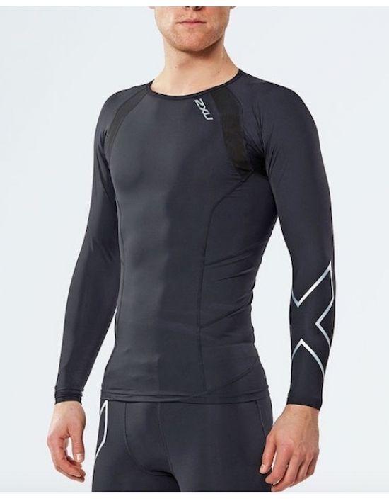 2XU Elite kompresní triko pánské, Black/Silver, MA2308b