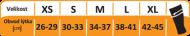 Velikostní tabulka kompresních návleků Royal Bay Motion
