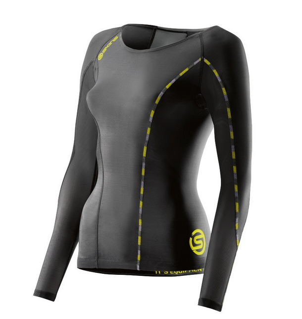 SKINS DNAmic Womens Long Sleeve Top - Black/Limoncello